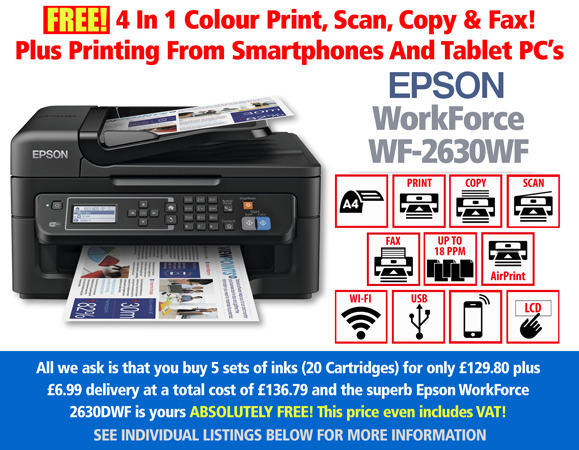 Free Epson WorkForce WF-2630WF Printer Deal and 5 Sets of Inks
