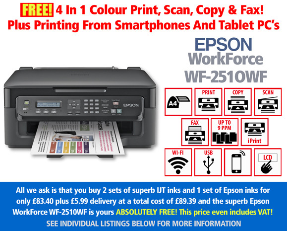 Looking for a cheap inkjet printer? The Epson wf-2510 with 3 ink cartridge sets at £83.40