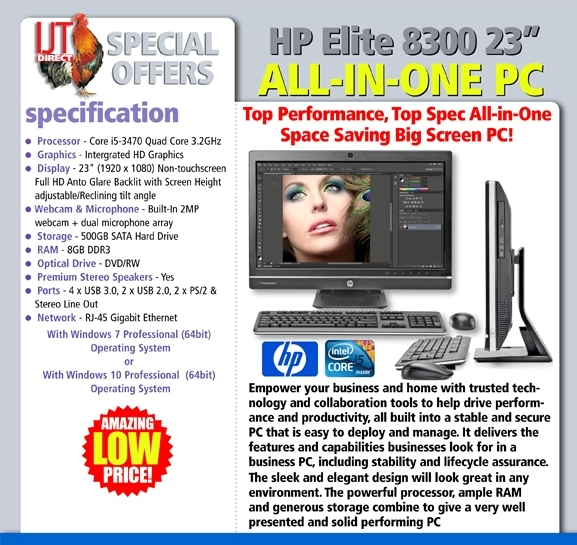 HP Elite 8300 23 All-in-One PC Quad Core i5 Processor 8GB 500GB Wi-Fi DVD/RW + Keyboard Mouse & Windows 7 & 10 Professional