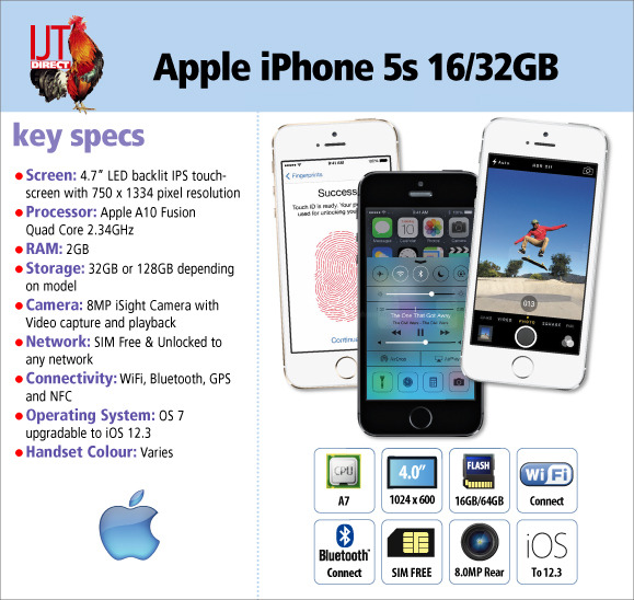 16GB or 32GB storage capacity SIM free Apple iPhone 5s in your choice of colour from £89.95
