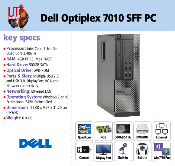 Dell Optiplex 7010 Small Form Factor i5 Quad Core PC supplied with Windows 7 or 10 Professional from £249.95