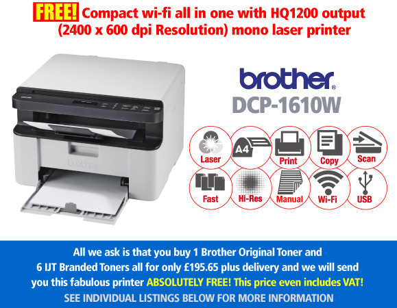 Free Brother DCP-1610W Print Scan & Copy Deal: With 7 toners